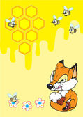 Little fox and honey — Wektor stockowy