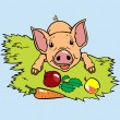 Piglet and vegetable - Stock Vector