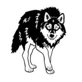 Wolf black and white — Stock Vector