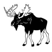 Moose black and white — Stock Vector
