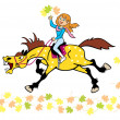 Little girl with horse autumn time — Stock Vector