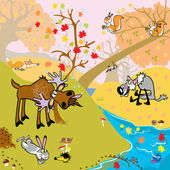 Autumn forest with wild animals — Stock Vector