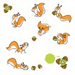 Squirrels with hazelnuts — Stock Vector