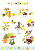Set of mushrooms with little forest creature — Stock Vector