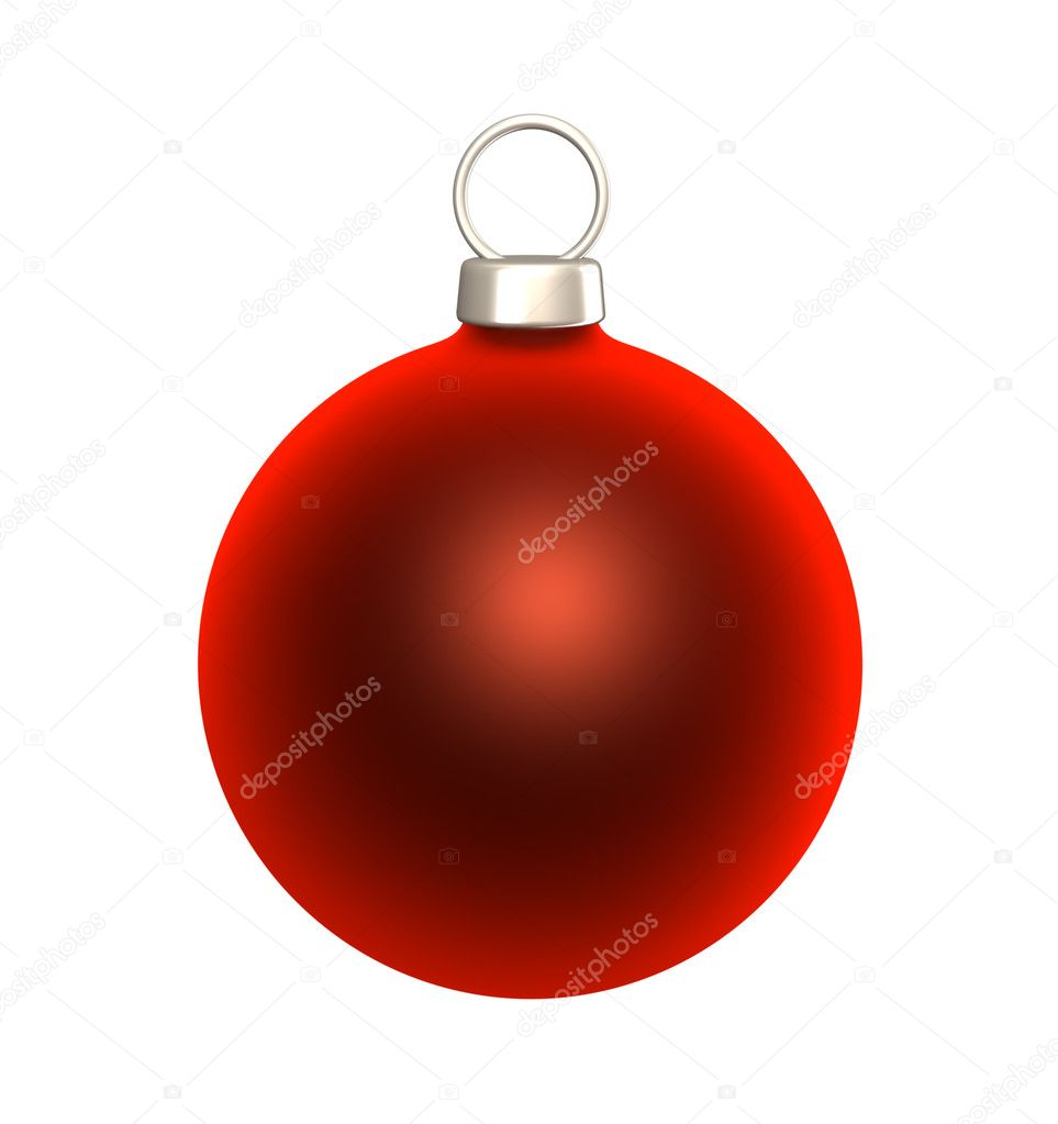 Red blank Christmas bauble isolated on white background.  Stock Photo #12073050