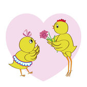 Chickens in love — Stock Vector