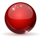 Red glossy sphere isolated on white. — Stock Vector