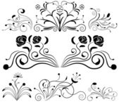 Black and white floral design elements. — Stock Vector