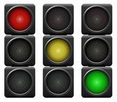 Traffic lights isolated on white background. — Stock Vector