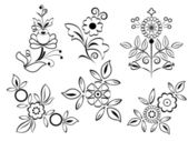 Black and white floral design elements. — 图库矢量图片
