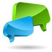 Green and blue speech bubbles 3D icon. — Stock Vector