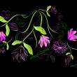 Vecteur: Green and pink floral design element on black background.