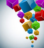 Colorful 3D cubes vector background with copy space. — Stock Vector