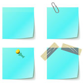 Blue sticky notice papers isolated on white. — Stock Vector
