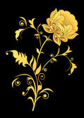 Yellow decorative flower on black background. — Stock Vector