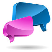 Pink and blue speech bubbles 3D icon. — Stock Vector