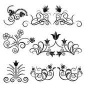 黒と白の花柄のデザイン ベクトルを設定. — ストックベクタ