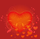Abstract red heart with floral elements vector card. — Stock Vector