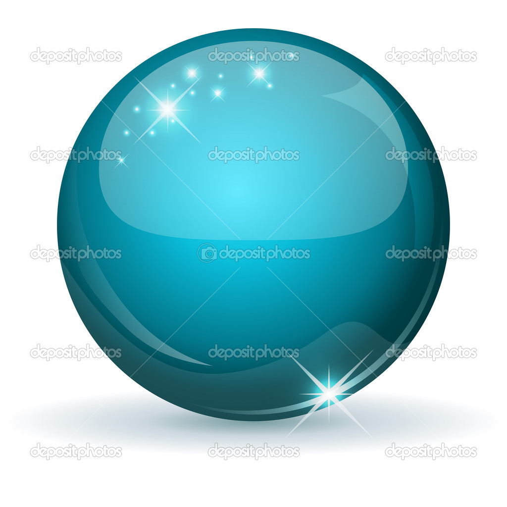 Teal glossy sphere isolated on white. — Stock Vector #12261280