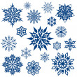 Stock Vector: Snowflake shapes collection isolated on white.