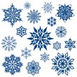 Snowflake shapes collection isolated on white. — Stock Vector