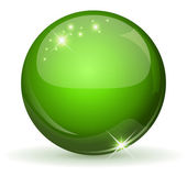 Green glossy sphere isolated on white. — Stock Vector