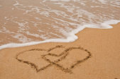 Beach and love in sand. — Stock Photo