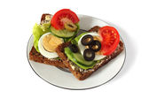 Healthy, fitness sandwiches with fresh vegetables and egg — Stock Photo