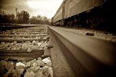 Sepie železnice — Stock fotografie