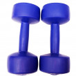 Plastic dumbbells — Stock Photo