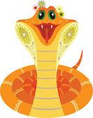 Smiled orange snake — Stock Vector