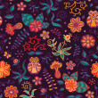 Owls in flowers. Seamless texture. — Vector de stock