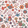Wektor stockowy : Seamless texture with flowers and owls on light-coloured background