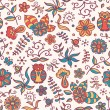 图库矢量图片: Seamless texture with flowers and owls on light-coloured background