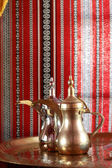 Gold and silver Arabic teapot — Stock Photo