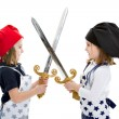Stock Photo: Twins cook chef with cook equipment sword