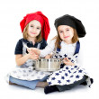 Stock Photo: Twins cook chef with cook equipment