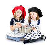 Twins cook chef with cook equipment — Stock Photo