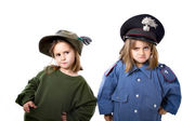 Children with carabinieri and alpino uniform — Stock Photo