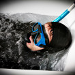 Crazy immersion dive scuba — Stock Photo