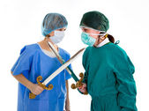 Couple of doctor medical competition — Stock Photo