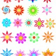 Stock Vector: Colored Flowers 1