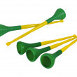 Stock Photo: Five Vuvuzelas traditional plastic trumpets