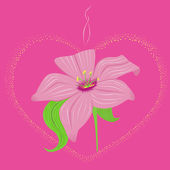 Luminous heart with lily — Stock Vector
