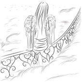 Angel in the sky — Vector de stock