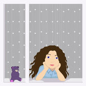 Girl in the window — Stock Vector