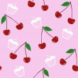 Seamless pattern with cherries — Stockvectorbeeld