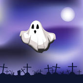 Ghost on cemetery — Stock Vector