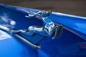 "Old car show on Retrofest. Metallic deer, symbol of ""Volga"" — Stockfoto"