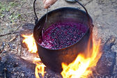 Cauldron with jam of the forest berries — Stock Photo